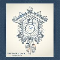 Old retro cuckoo clock postcard