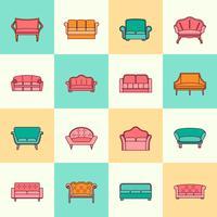 Linha plana de ícone de sofá