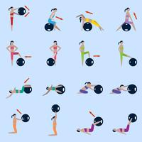 Set di icone di palla fitness