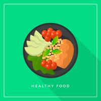 Flat Healthy Meals Mat Vector Illustration