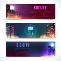 Banners horizontales de la ciudad por la noche.