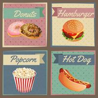 Fast food menu cards vector