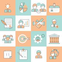 Linha plana de ícones de gestão de negócios
