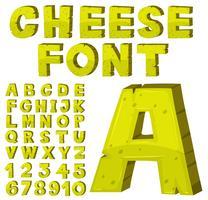 Design de fonte para alfabetos ingleses em amarelo