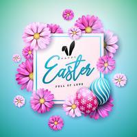Progettazione felice di festa di Pasqua con l'uovo dipinto e fiore della primavera su fondo blu.