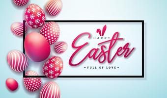 Illustration vectorielle de joyeuses fêtes de Pâques avec des oeufs peints rouges sur fond clair.
