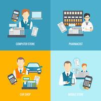 Set de iconos vendedor plano