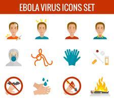 Iconos del virus del ébola planos