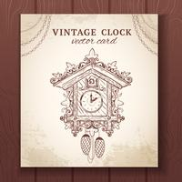 Old retro cuckoo clock card
