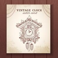 Tarjeta de reloj de cuco retro viejo