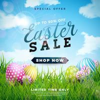 Ilustración de venta de Pascua con huevo pintado de color y flor de primavera sobre fondo de cielo nublado