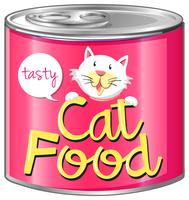 Comida de gato com rótulo rosa