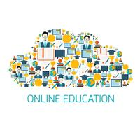 Education icons cloud vector