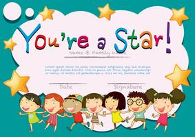 Certificate template with happy kids