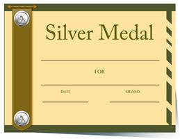 Certificate template for silver medal