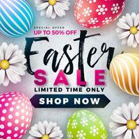El ejemplo de la venta de Pascua con el huevo pintado color y la primavera florecen en el fondo blanco.