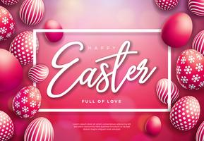 Vector Illustration of Happy Easter Holiday with Painted Egg on Shiny Red Background