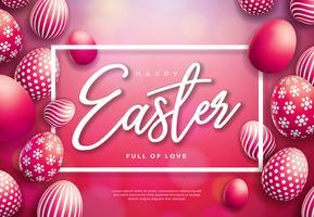 Ilustración del vector del día de fiesta feliz de Pascua con el huevo pintado en fondo rojo brillante