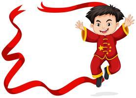 Design de moldura com menino chinês pulando