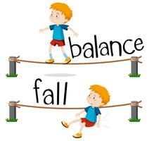 Opposite words for balance and fall