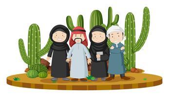 Muslim people in desert land