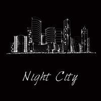 Nacht stad skyline schets