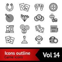 Conjunto de ícones de contorno de jogo