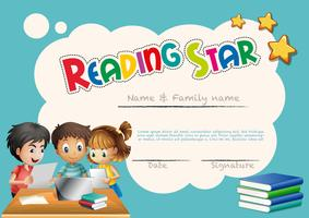 Reading star award template with children background