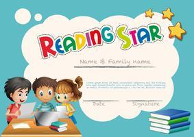 Plantilla de premio estrella de lectura con fondo infantil