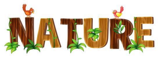 Diseño de fuentes con la palabra naturaleza.