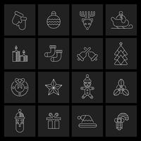 Christmas icons set outline