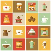 Kaffe ikoner platt uppsättning