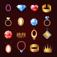 Smycken ikonuppsättning