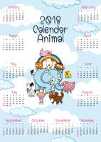 calendar template with cute animals vector