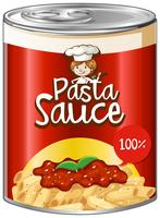 Pasta sauce in can with red label