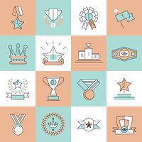 Iconos de premios establecidos línea plana