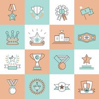 Award pictogrammen instellen platte lijn