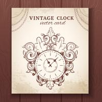 Old vintage wall clock card