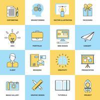Iconos de línea plana de publicidad