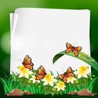 Paper template with butterflies in garden