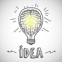 Human brain in lightbulb sketch