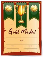 Certificate template for gold medal
