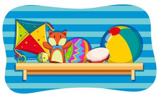 Background design with toys on shelf