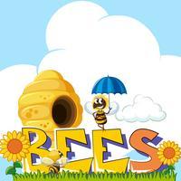 Ordbier och bi som flyger kring bikupan i bakgrunden