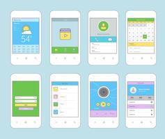 Linha plana de design de interface móvel