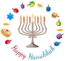 Modello di carta di Hanukkah felice con luci e decorazioni