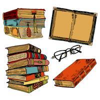 Vintage boeken kleuren schets