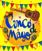 Cinco de mayo poster design with guitar and flags