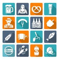 Iconos de cerveza establecidos planos