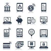 Mobile banking icons black